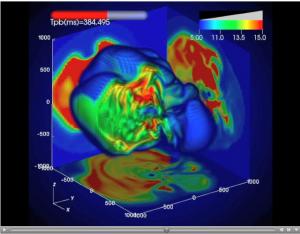 図4:超新星爆発の3次元回転計算